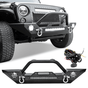 2007-2018 Jeep Wrangler JK Front Winch Bumper With Built-in 90W LED Light Bar And 60W LED Fog Lights On Amazon