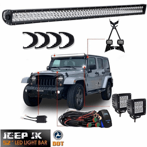 Complete Jeep Wrangler JK Offroad 52-Inch Led Light Bar Kit With Brackets On Amazon