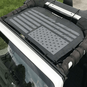 Jeep Wrangler Sunshade With US Flag Printed Graphic Mesh Shade Top Cover On Amazon