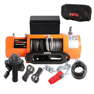 X-BULL IP67 12V Electric 13000 lb. Jeep Winch With Waterproof Synthetic Rope