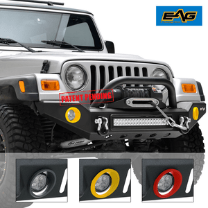 Jeep Front Bumper With LED Lights and Colored Light Surrounds Fits Jeep Wrangler TJ YJ 1987-2006 On Amazon