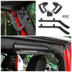 Jeep Wrangler JK & Unlimited Black Steel Front Grab Handles for 2007-2018 By Hooke Road On Amazon
