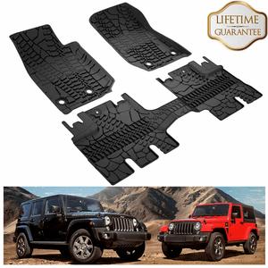 Jeep Wrangler JK 4-Door Unlimited Floor Mats Compatible For 2007-2018 On Amazon