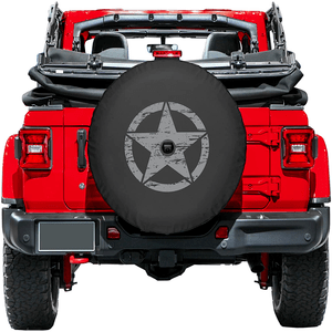 Jeep Wrangler JL Spare Tire Cover With Back-Up Camera Hole In Multiple Colors And Sizes On Amazon