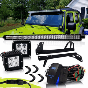 Jeep Wrangler JK 50-Inch LED Light Bar Combo Kit With Mounting Brackets On Amazon