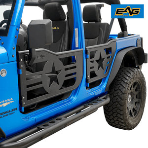 2007-2018 Jeep Wrangler JK Unlimited 4-Door Military Star Half Doors With Mirrors By EAG On Amazon