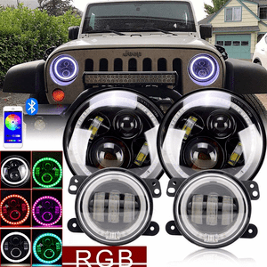 7 Inch Jeep LED Headlights RGB Halo Turn signal Hi/Lo Beam DRL With Bluetooth Remote + Pair 4 Inch Front Bumper Fog Lights