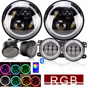 Jeep Wrangler LED Headlight Kit with RGB Halo Turn signals, Bluetooth Remote and Pair 4 Inch Front Bumper Fog Lights