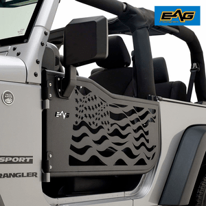 Jeep Wrangler JK 2 Door US Flag Half Doors With Black Sideview Mirrors