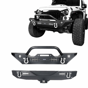 Jeep Wrangler JK Textured Black Front Bumper And Rear Bumper Kit With 2-Inch Hitch Receiver On Amazon