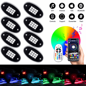 Blue Jeep LED Rock Light Kits with 8 pods Lights for Off Road Truck Car ATV SUV By Sunpie On Amazon