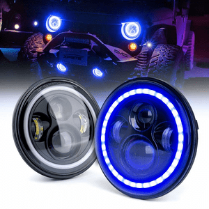 80W CREE Jeep LED Headlights With Blue Halo for Jeep Wrangler JK TJ LJ 1997-2018 By Xprite