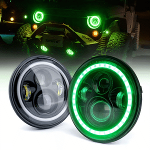 80W Jeep LED Headlights With Green Halo For Jeep Wrangler JK TJ LJ 1997-2018 By Xprite On Amazon