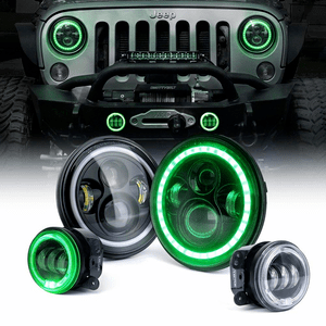 Xprite 80W Jeep Wrangler LED Headlights + 60W LED Fog Lights Green Halo Combo Kit On Amazon