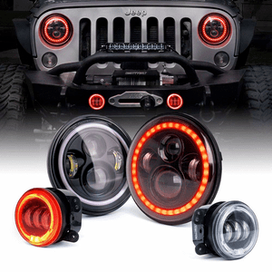 Xprite 80W Jeep Wrangler LED Headlights + 60W LED Fog Lights Red Halo Combo Kit