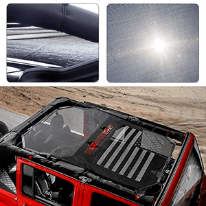 Jeep Sunshade Mesh Top Cover For 2007-2017 Jeep Wrangler JKU 4 Door With America US Flag On Amazon