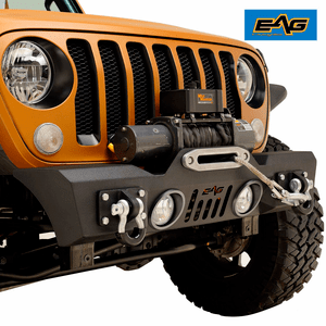 EAG Stubby Jeep Front Bumper Black Textured With D-Ring and Winch Plate for 18-19 Jeep JL Wrangler On Amazon