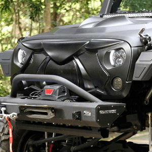 Maiker Jeep Wrangler Front Grille Demon Grid Grill W/Mesh for Jeep Wrangler JK & Unlimited, Matte Black On Amazon
