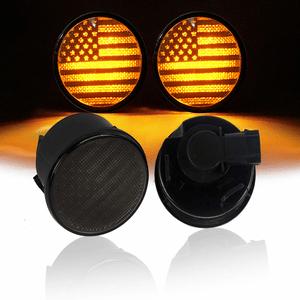 US Flag Smoked Turn Signal Front Lights Amber LED For Jeep Wrangler JK 2007-2018 Models On Amazon