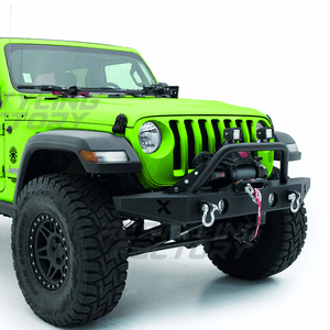 Black Textured Rock Crawler Jeep Front Bumper With Winch Plate For 2018-2019 Jeep Wrangler JL On Amazon