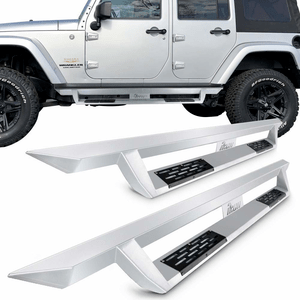 Jeep Wrangler JK 4-Door Side Steps Fits 2007-2018 | IKON V1 Style Silver Steel Bar Nerf Bar On Amazon