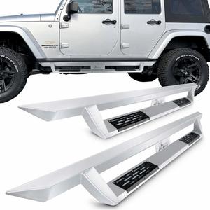 Jeep Wrangler JK 4DR Running Boards Fits 2007-2017 | IKON V1 Style Silver Steel Side Step Bar Nerf Bar On Amazon