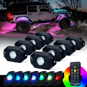 Xprite 8-Pod Jeep Wrangler LED Rock Light Kit With RGB LED Lights And Bluetooth Controller On Amazon