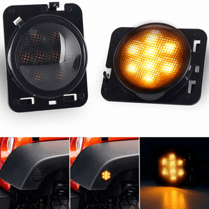 Jeep LED Side Marker Lights Amber Parking Lights For Jeep Wrangler 2007-2018 Smoked Lens On Amazon