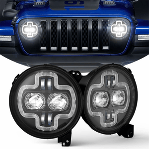 Super Bright 9-Inch Jeep Round LED Headlights For Jeep Wrangler JL 2018-2021 With LED On Amazon