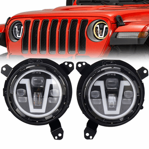 2018-2021 Jeep Wrangler JL Headlights With V Halo Daytime Running Lights And Turn Signals On Amazon
