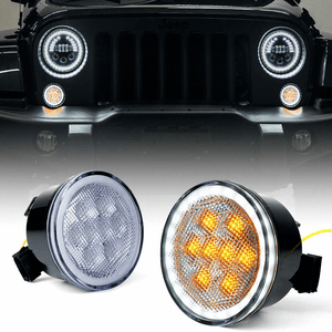 Xprite LED Turn Signal Light With Clear Lens And Halo DRL For 2007-2018 Jeep Wrangler JK On Amazon