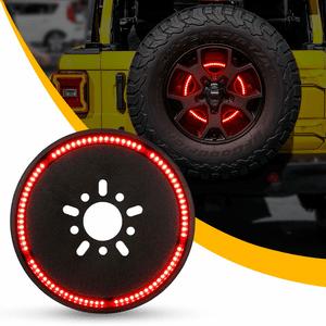 2018-2021 Jeep Wrangler JL JLU Spare Tire Brake Light With Red LED Wheel Lights On Amazon