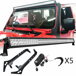 2018-2020 Jeep Wrangler JL 52-Inch LED Light Bar Kit Complete With Brackets On Amazon
