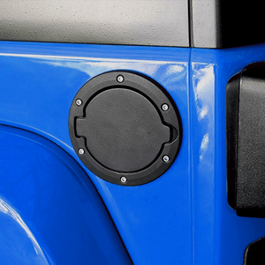 Jeep Gas Cap Cover Satin Black Powder Coated Steel for Jeep Wrangler 07-17 Sport Rubicon Sahara